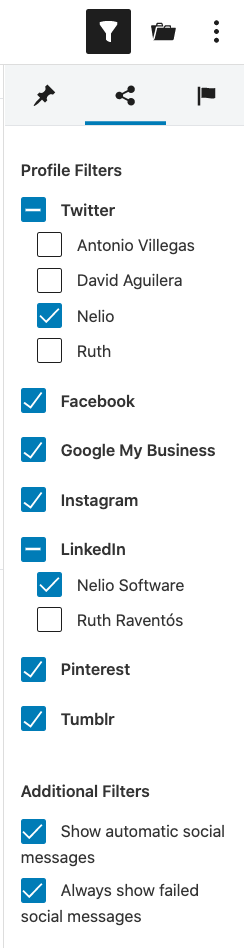 Social message filter in the editorial calendar.