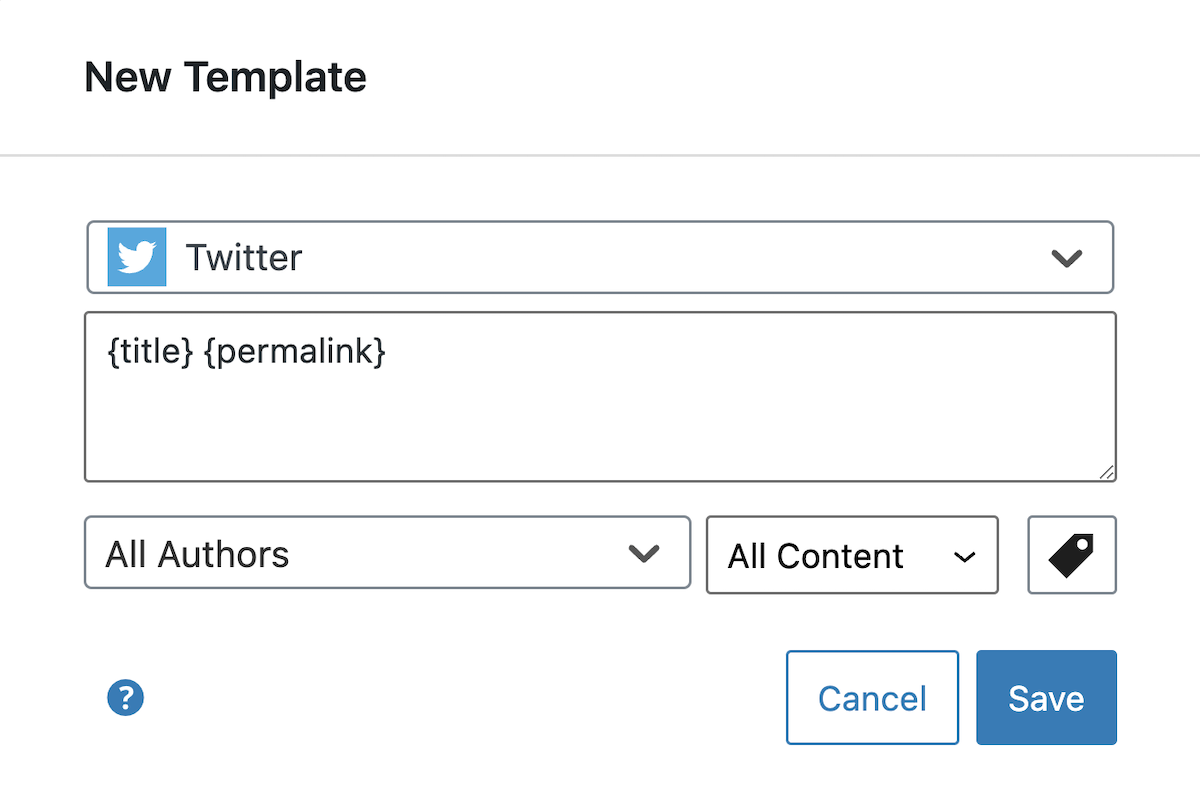 Dialog to create a new social template.