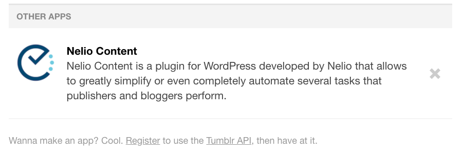 Third party apps that has access to publish on Tumblr.