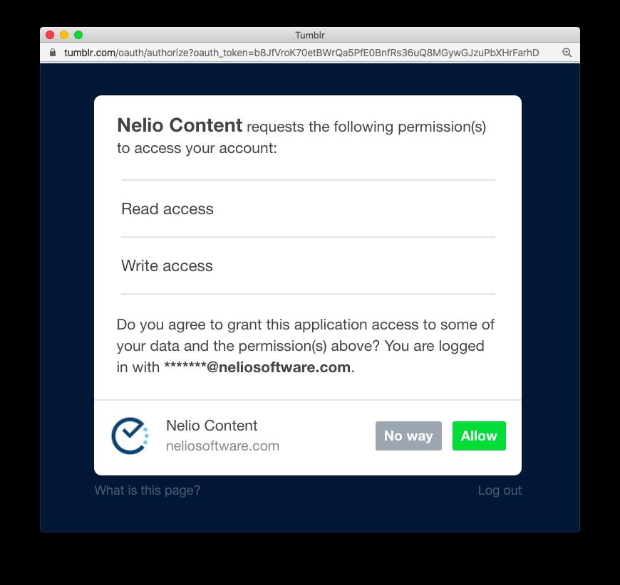Allow Nelio Content accessing your Tumblr account.