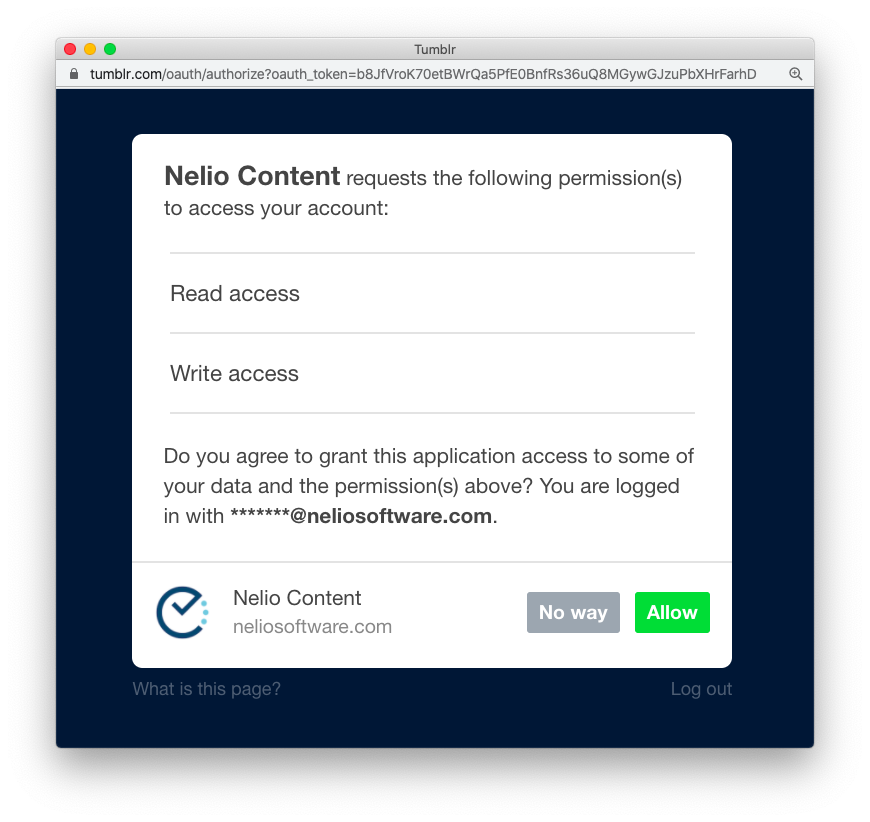 Allow Nelio Content accessing your Tumblr account.